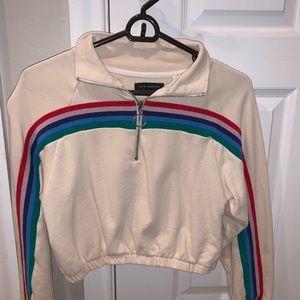 Pacsun Rainbow Stripe Cropped Sweatshirt